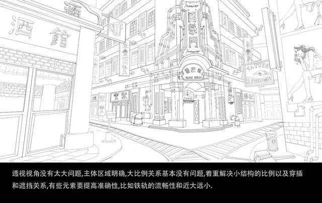 刘震宇街道线稿图