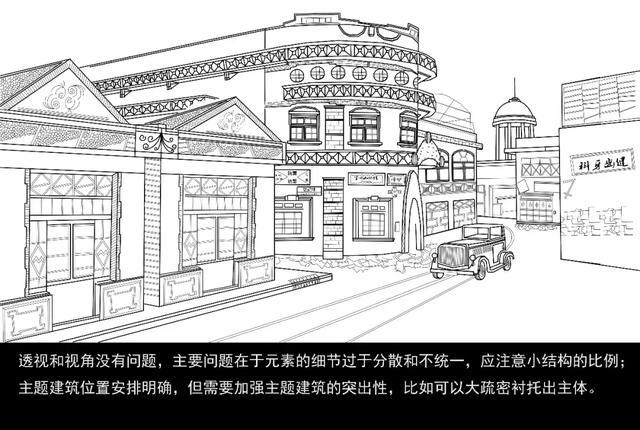 杨织绮街道线稿图